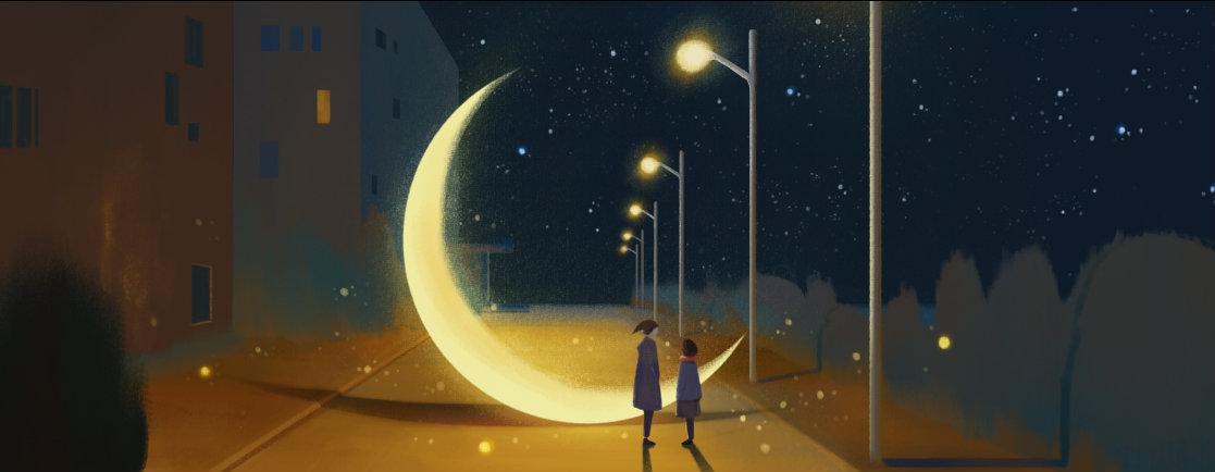 Фото Парень с девушкой стоят на дороге у месяца