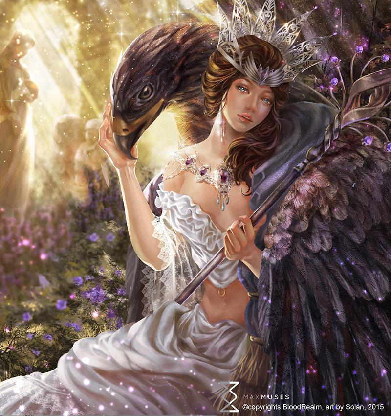 Фото Богиня Freyja / Фрейя сидит с орлом, арт к игре Blood Realm / Царство крови, by Solan