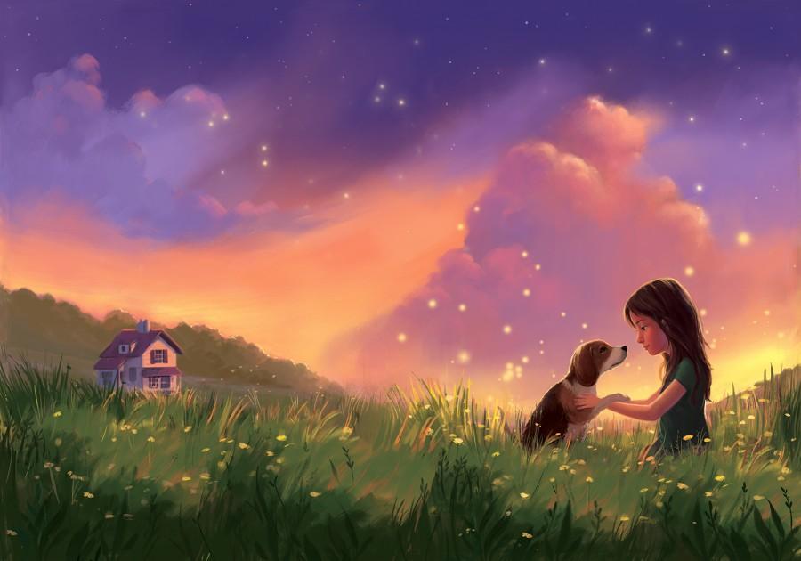 Фото Девочка играет с собакой на зеленом лугу, вдали виден дом, by JENNIFER BRICKING