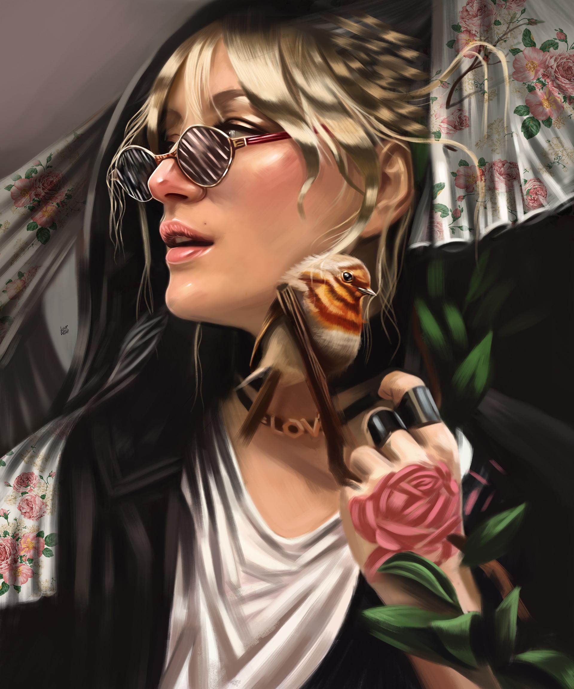 Фото Девушка в очках с птичкой у лица, by Yasar VURDEM