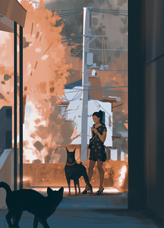 Фото Кошка смотрит на девушку с собакой, стоящих в переулке, by snatti89