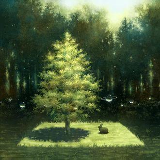 Фото Кролик сидит у дерева вокруг которого летают планеты, by kazami395