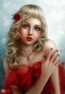 Фото Девушка в красном платье и розой в волосах, by OmarDiazArt