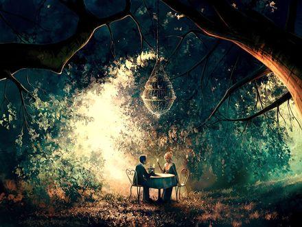 Фото Парень с девушкой сидят за столом, в окружении деревьев, by Aquasixio - Cyril ROLANDO