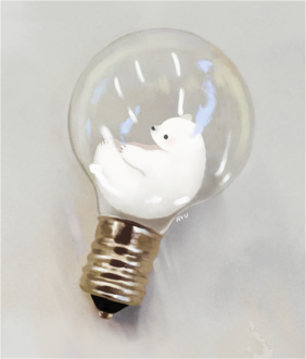 Фото Белый медвежонок внутри лампочки, by ayu