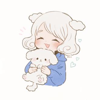 Фото Смеющаяся девочка держит в руках щенка, by ayu