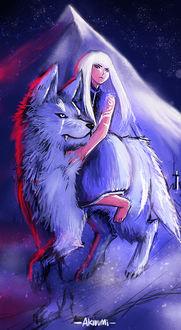 Фото Светловолосая девушка сидит верхом на белом волке, by Akiuumi