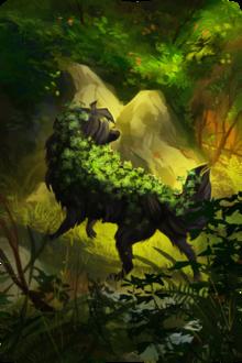 Фото Волк с плющом на шерсти идет по лесу, by Memuii