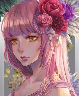 Фото Розоволосая девушка с розами в волосах, by EndlessRz