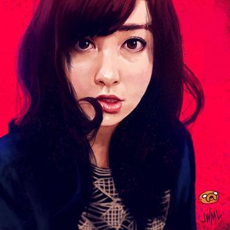 Фото Темноволосая девушка на красном фоне, by SteamyTomato