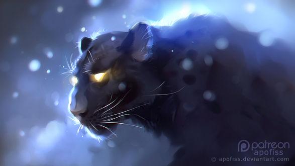 Фото Пантера со светящимися глазами под падающим снегом, by Apofiss