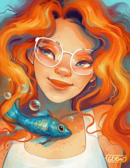 Фото Рыжеволосая девушка в очках и голубая рыбка, by GDBee