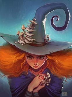 Фото Сердитая ведьма с поганками в руках, by loish