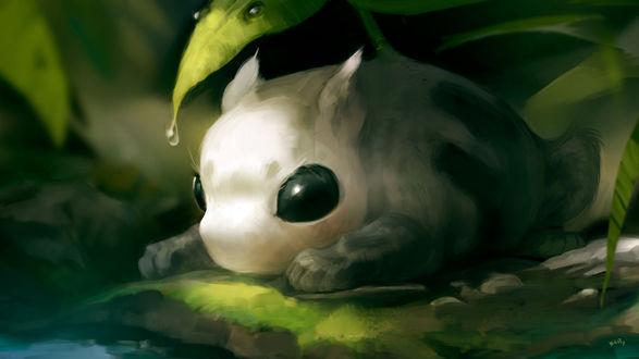 Фото Маленькое фантастическое животные лежит под зеленым листочком, by KEPZONE