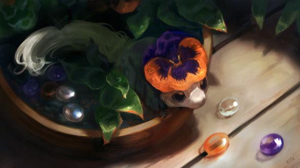 Фото Маленькое фантастическое животное в цветочном горшке, by KEPZONE