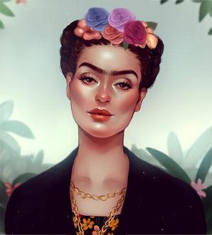 Фото Мексиканская Художница Фрида Кало / Frida Kahlo в венке, by cosmogirll