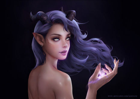 Фото Девушка-демон с магическим сиянием в руке, by Jane Nane