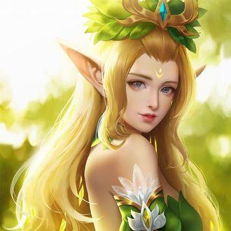 Фото Эльфийка с длинными светлыми волосами на фоне природы, by Tennet Shi