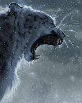 Фото Леопард с открытой пастью, by TamberElla