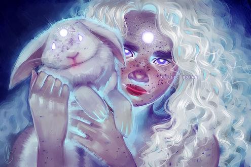 Фото Девушка - блондинка с кроликом в руках, by CelticBotan