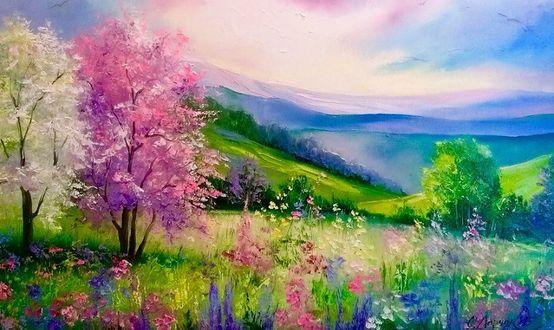 Фото Весна, деревья в цвету, вдали виднеются зеленые холмы