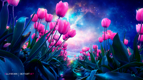 Фото Тюльпаны под ночным звездным небом, by Ellysiumn