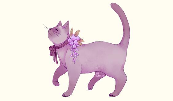 Фото Кошка с цветком на шее