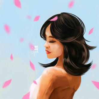 Фото Темноволосая девушка среди розовых лепестков, by bearcyan