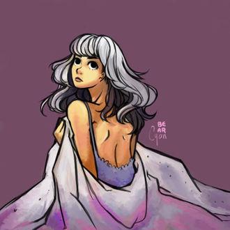 Фото Светловолосая девушка прикрывается одеялом, by bearcyan