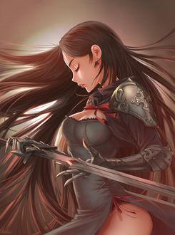 Фото Длинноволосая девушка-воин с мечом в руках, by Leo Fox