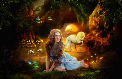 Фото Девушка в сказочном лесу на фоне лошади, лебедей и птиц, Lost Princess / Пропавшая Принцесса, by pjenz