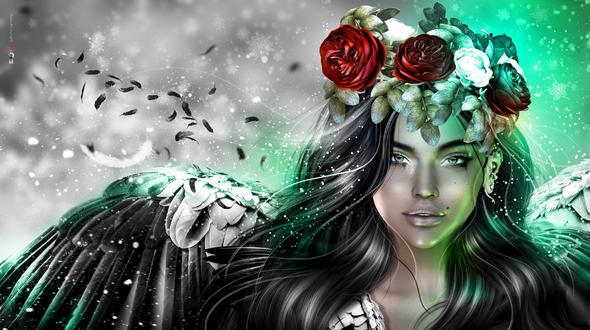 Фото Девушка с розами на голове