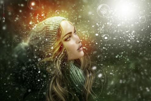 Фото Девушка в шапке под снегопадом