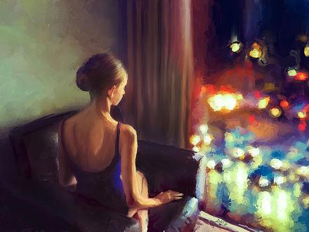 Фото Девушка сидит у окна, by DDGrafix