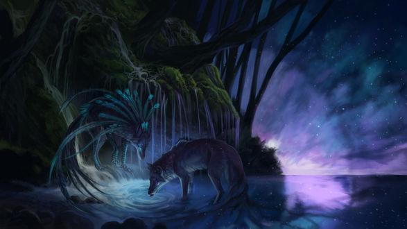 Фото Фантастические волки в лунную ночь, by Karina Isaenkova