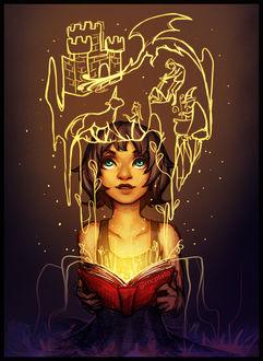 Фото Девушка с волшебной книгой и персонажами из нее, by mcptato
