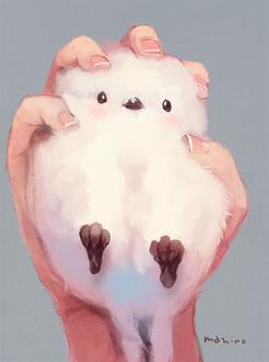 Фото Белая птичка лежит в руке, by manino