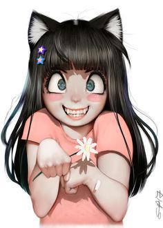 Фото Неко-девочка держит в руке ромашку, by RandyStarFru1t