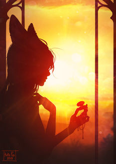 Фото Силуэт девушки с лисьими ушками в лучах заходящего солнца, by Kate-FoX