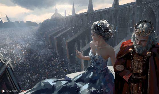 Фото Принцесса с королем на фоне города и площади с людьми, by WLOP
