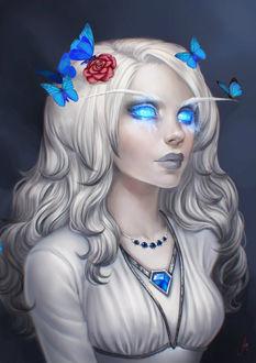Фото Белокурая девушка с голубыми глазами и бабочками, by JuneJenssen