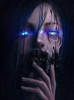 Фото Темноволосая девушка со светящимися глазами и закрытым ртом, by z-a-i-n-a (Speak Up / Говори громче)