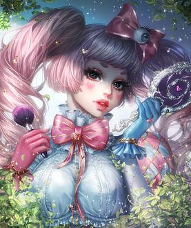 Фото Девушка с розовыми волосами держит в руках зеркальце и кисточку для макияжа, by mollyillusion