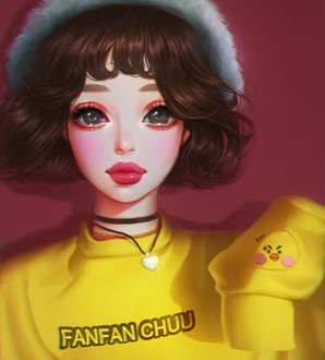 Фото Девушка в желтом свитере с подвеской в виде сердечка на шее (fanfan chuu), by mollyillusion