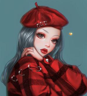 Фото Девушка с голубыми волосами в красной куртке и в красном берете, by mollyillusion