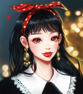 Фото Темноволосая девушка с большими золотыми сережками и с красной повязкой на голове, by mollyillusion