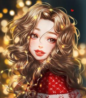 Фото Светловолосая девушка в красном свитере с гирляндой в волосах, by mollyillusion