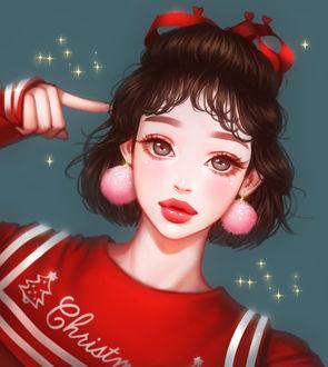 Фото Девушка в красном свитере и в розовых серьгах приставила палец к голове, by mollyillusion