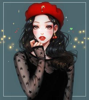 Фото Темноволосая девушка в красном берете с серьгами в виде вишни, by mollyillusion