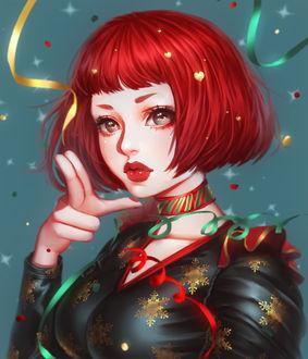 Фото Девушка с красными волосами в черном платье, by mollyillusion